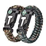 Paracord Survival Bracelet, 5 in 1 Adjustable Survival Bracelet W Flint Fire Starter Compass Whistle Parachute Cord Buckle Fits Men Women Kids for Hiking Camping,Boating Emergency or Other Outdoor Activities, Pack of 2