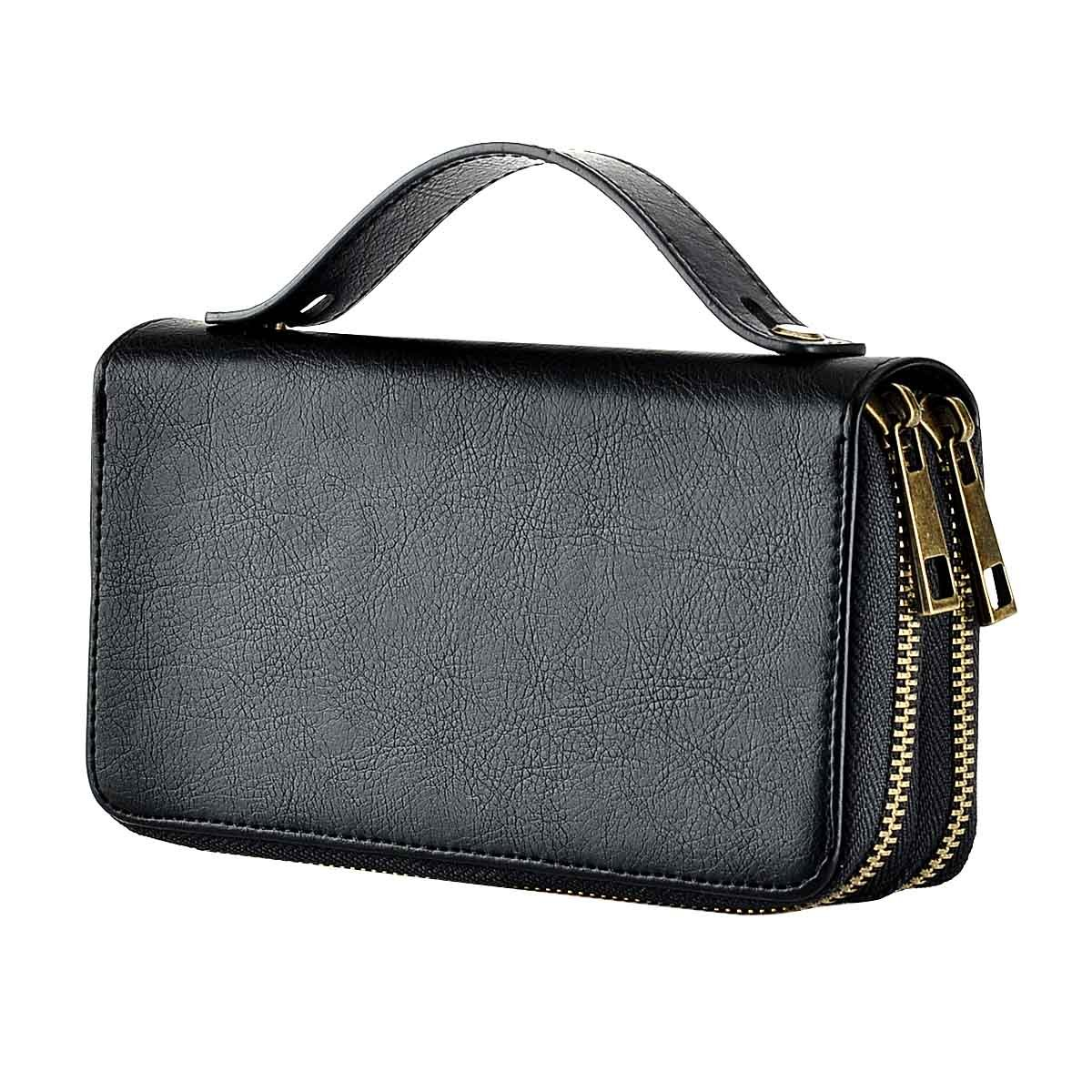 HAWEE Big Size Long Wallet with Leash for Woman Dual Zippered Clutch Purse Premium PU 5 Credit Card Slot 1 Smart Phone Slot 1 Coin Purse and Ample Compartments for Cash and Note, Black with Strap
