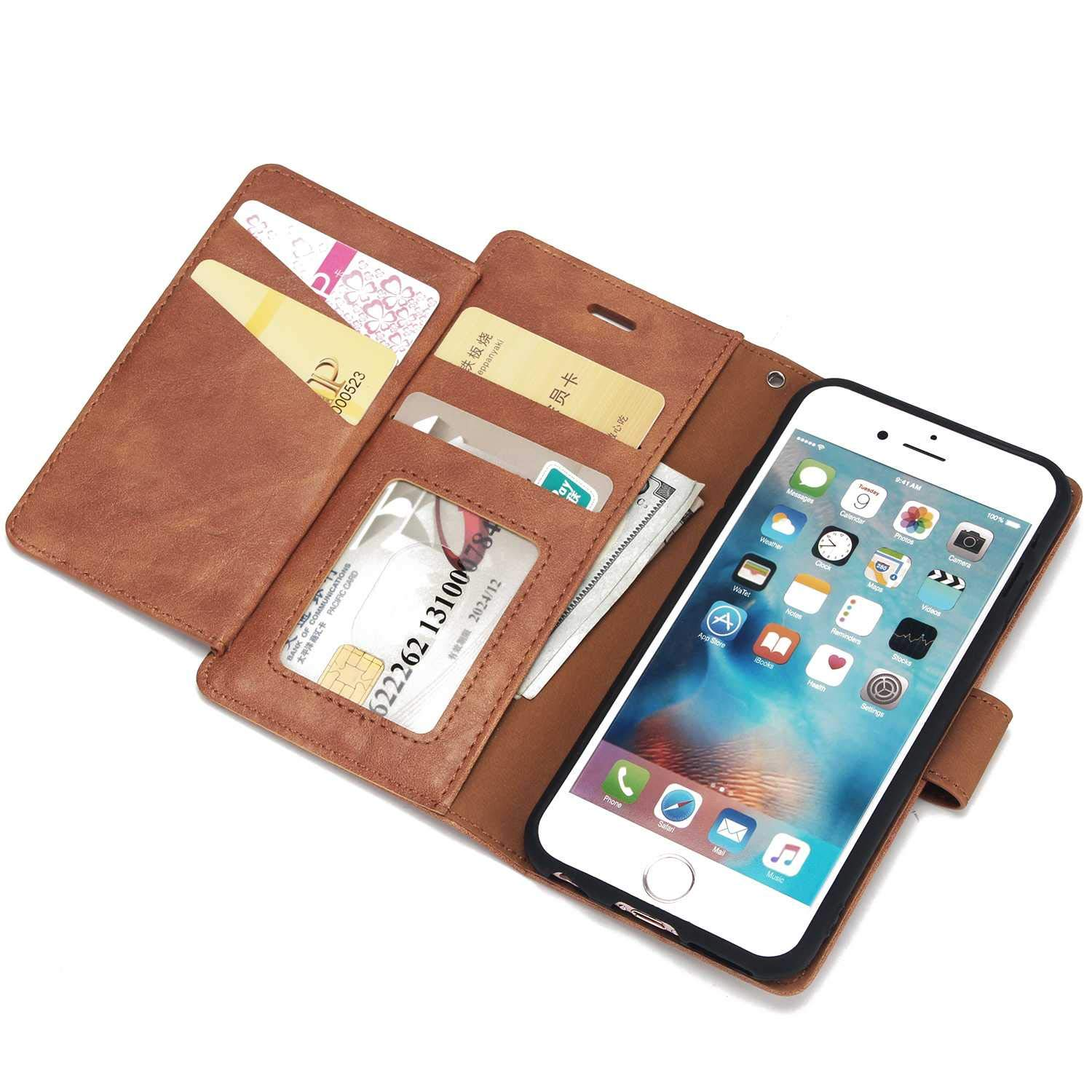 Grey Magnetic Shockproof Protective Cover for Apple iPhone 6 // 6s DENDICO iPhone 6 // 6s Case Ultra Slim Leather Wallet Case with 6 Card Slots