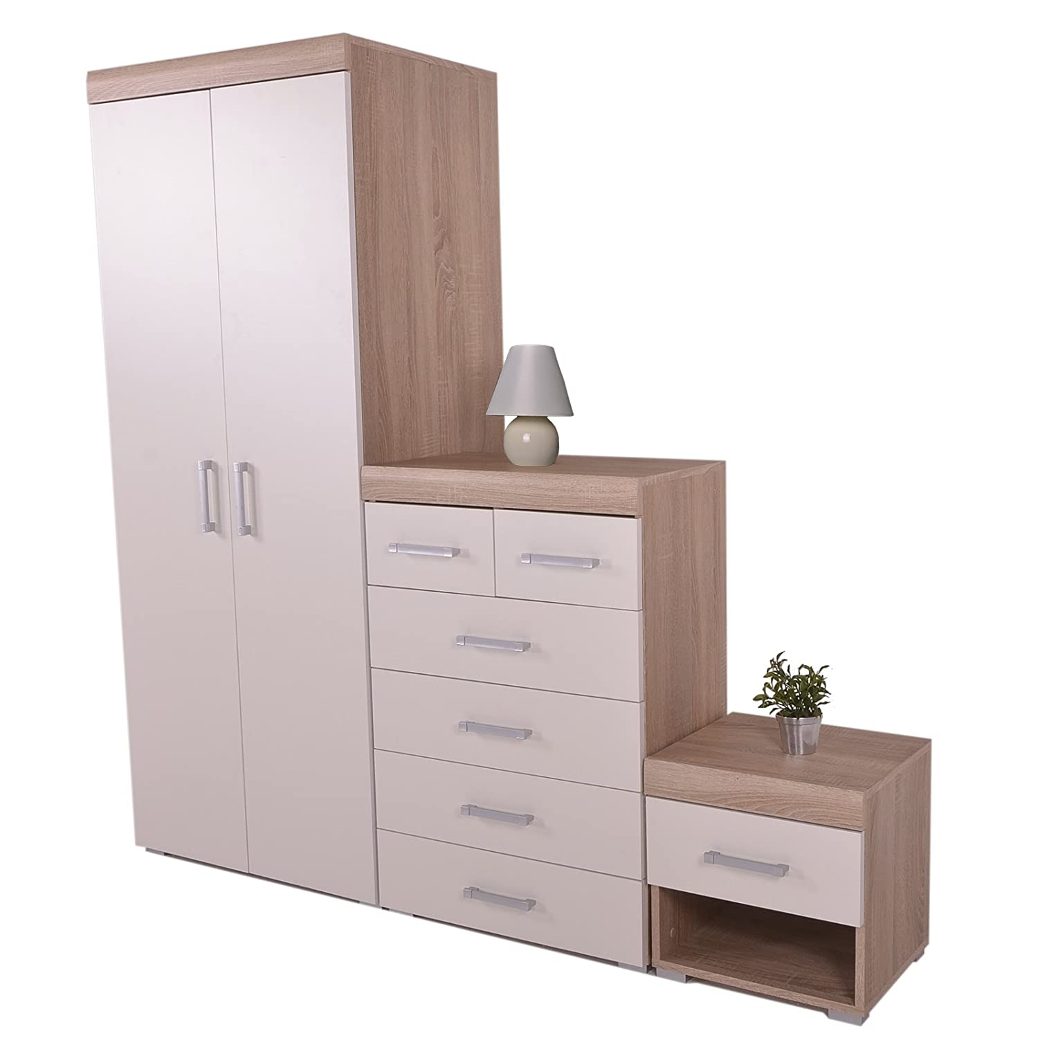 DP 3 Piece Bedroom Set 4+2 Chest Drawers Bedside Table & Wardrobe White & Sanoma Oak