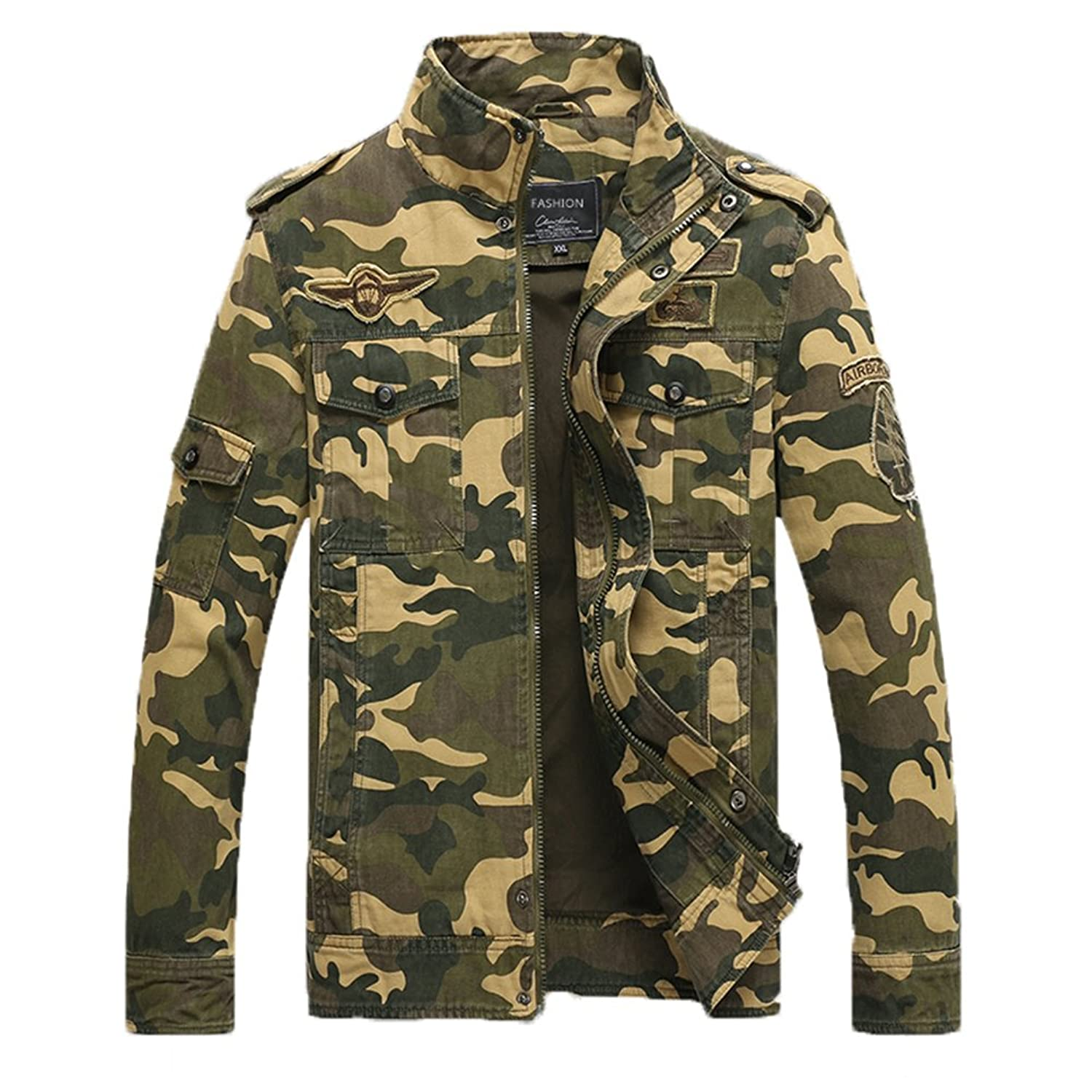 MANLUODANNI Men's Cotton Military Style Air Force Army Jacket Military Coat