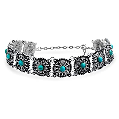 Bling Jewelry Southwestern Style Simulated Turquoise Choker Rhodium Plated Necklace 12 Inches 5y9TzgPkvu