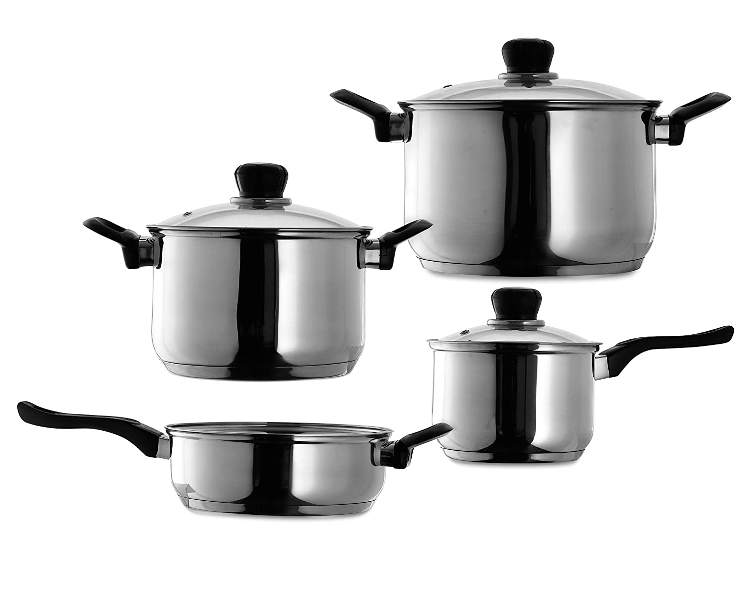 7 Piece Stainless Steel Heavy-Duty Cookware, 5 Capsule, 5 mm thick bottom with heat conduction, Dutch oven Pots and Pan with Bakelite Handles, Compatible to Multi-Stove Tops