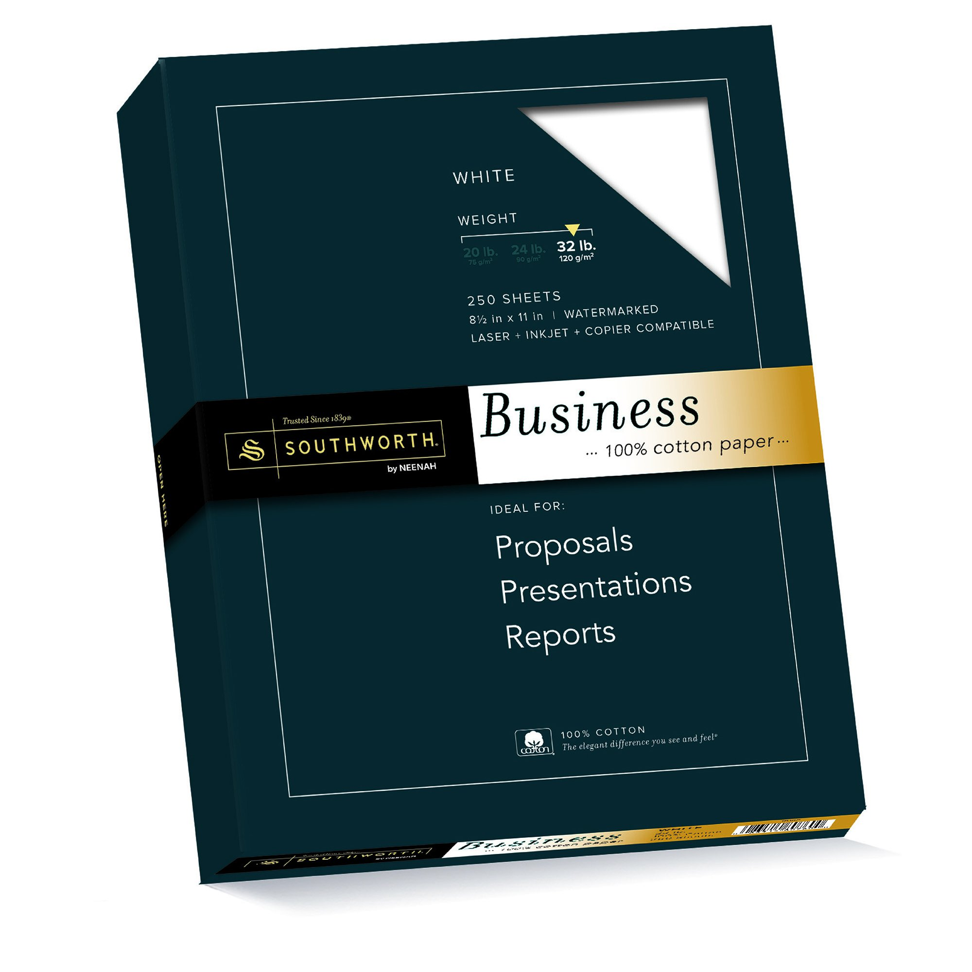 Southworth 100% Cotton Business Paper, 8.5''x11'', 32 lb, White, 1500 sheets (JD18C) by Southworth