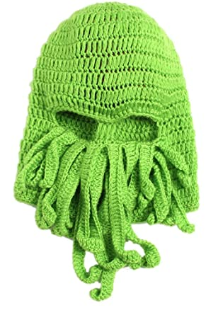 Orien Unisex Winter Warm Knitted Wool Ski Face Mask Beanie Hat Octopus Squid  Cap (Green)  Amazon.co.uk  Clothing a9cc2555d1e7