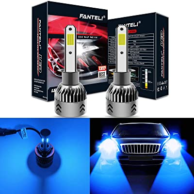 FANTELI H1 10000K-12000K Deep Blue LED Headlight Bulbs All-in-One Conversion Kit - 72W 8000LM High Beam/Low Beam/Fog Lights Extremely Bright: Automotive