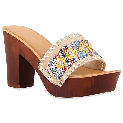 Damen Nieten Pantoletten Plateau Sandaletten Plateau Profilsohle  Blockabsatz Holz Schuhe 116825 Creme Bunt Muster 40 Flandell 50f528e196