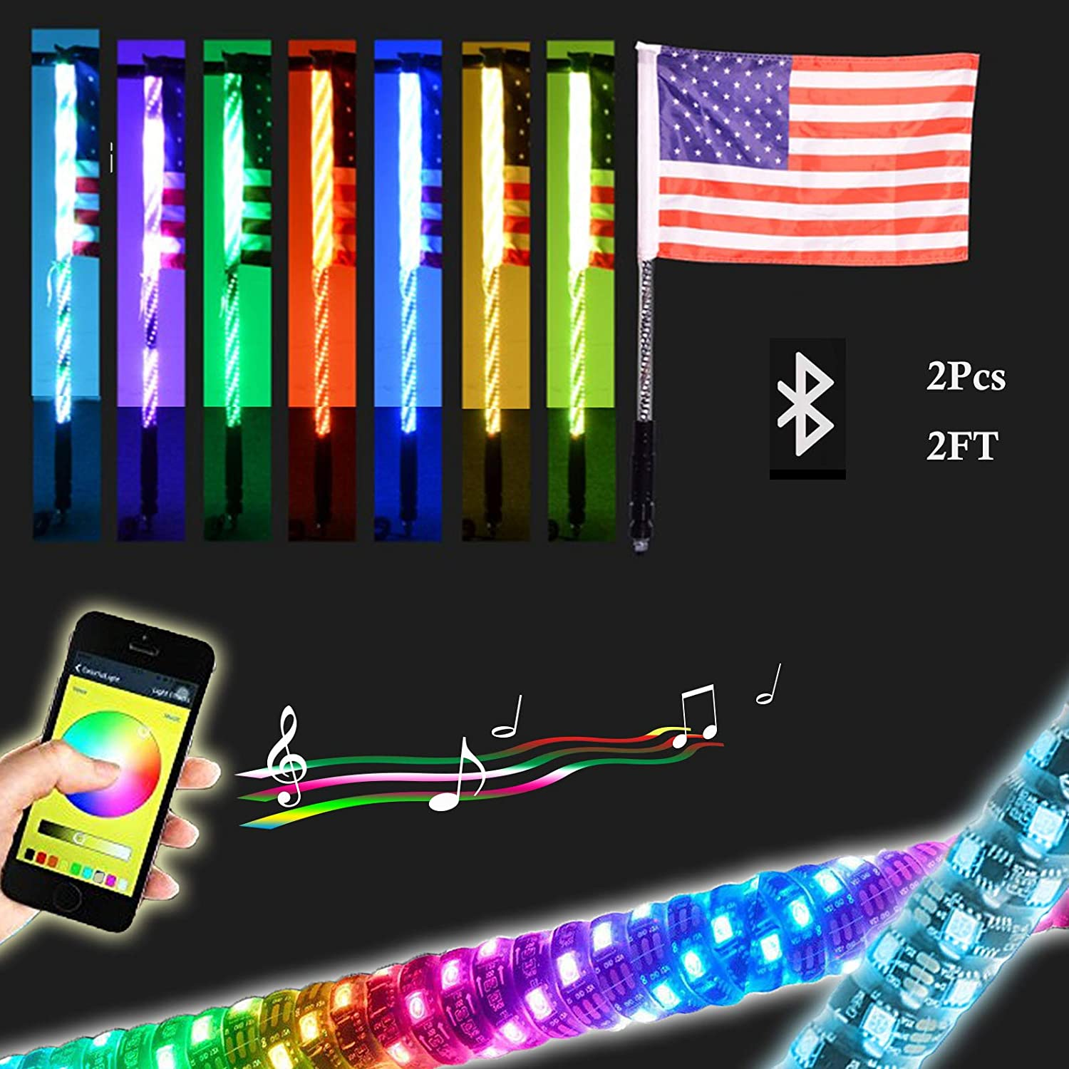 2Pcs 2FT LED Whip Light with Bluetooth Control -360/°Spiraling Rising Dancing flag Offroad Warning Lighted LED Whips LED Antenna Light for UTV Off Road Truck Sand Buggy Dune Jeep ATV RZ