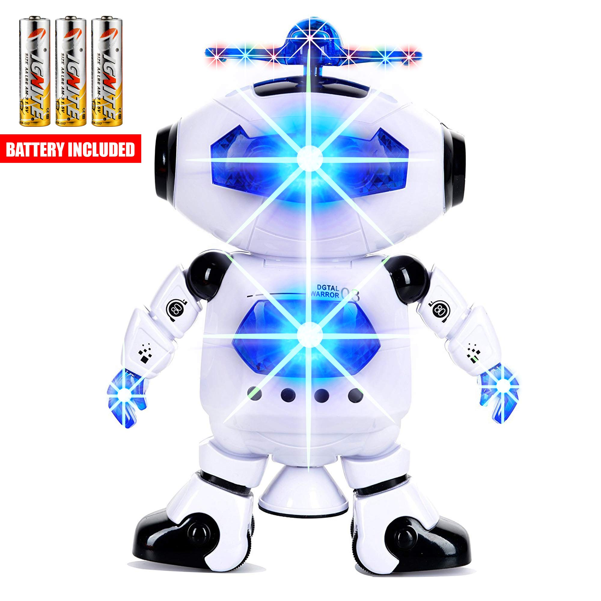 Toysery Electronic Walking Dancing Robot Toys With Music Lightening For Kids Boys Girls Toddlers, Battery Operated Included by  Toysery (Image #1)