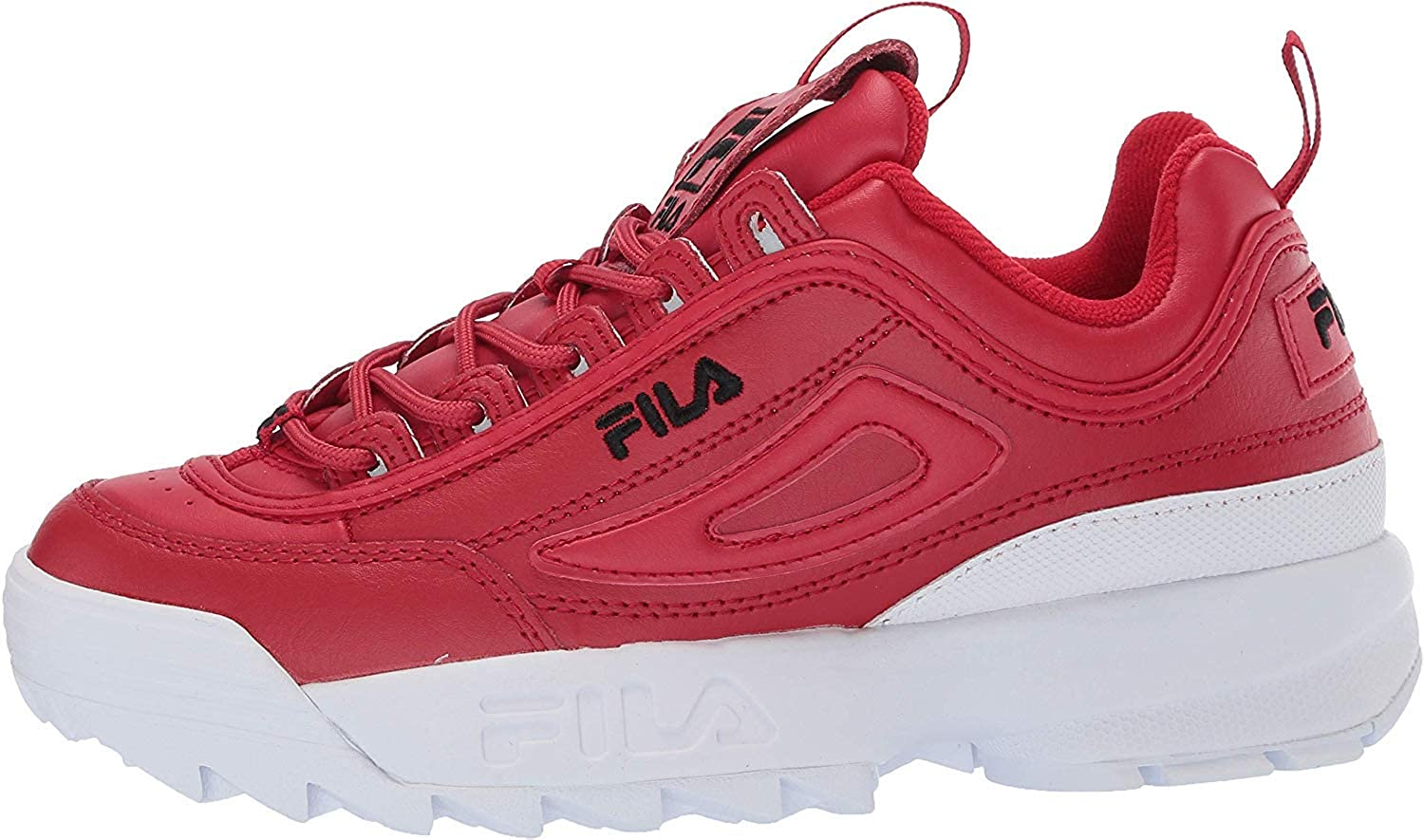 Fila Womens Disruptor II Metallic Accent Leather Synthetic Trainers White Navy Red tkignh