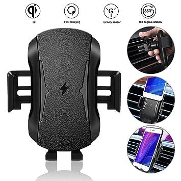 Cargador Inalámbrico Coche, 10W Qi Carga Rápida y Soporte Móvil Aplicable a Rejillas del Aire para iPhone X/XS/XR/8/8, Samsung s10/s10+/s9/s8 /s7/s6 ...