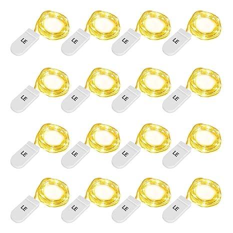 LE Guirnaldas Luces LED, 16 x 1m 20 LED, Blanco Cálido, a Pilas