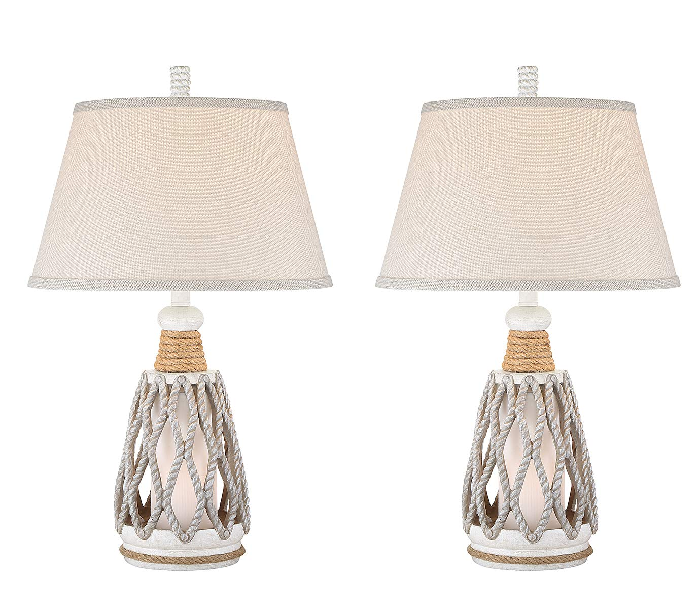 Seahaven Rope Coastal Table Lamp - Antique White - Lamp Set - Rope Lantern Style