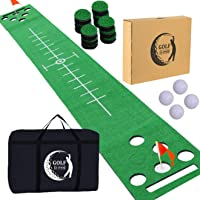 2-FNS Golf Beer Pong Game Set Green Mat, Great Golf Putting Green Beer Pong Games for Backyard Office House Party with 4 Golf Balls, 1 Golf Mat, 12 Golf Hole Covers