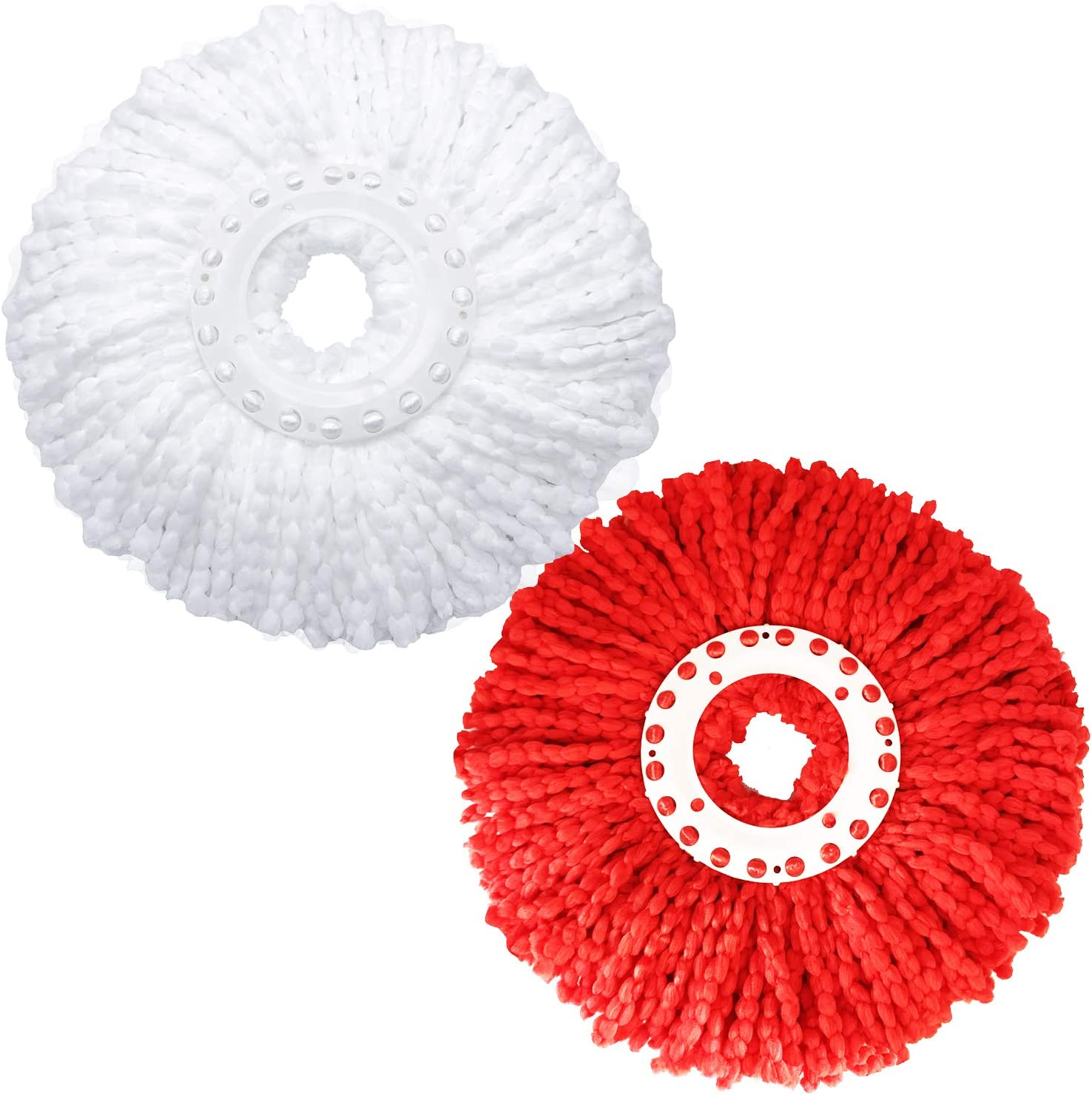 LEMNUY Spin Mop Heads Replacement Refills 2 Pack Microfiber Cotton White and Red