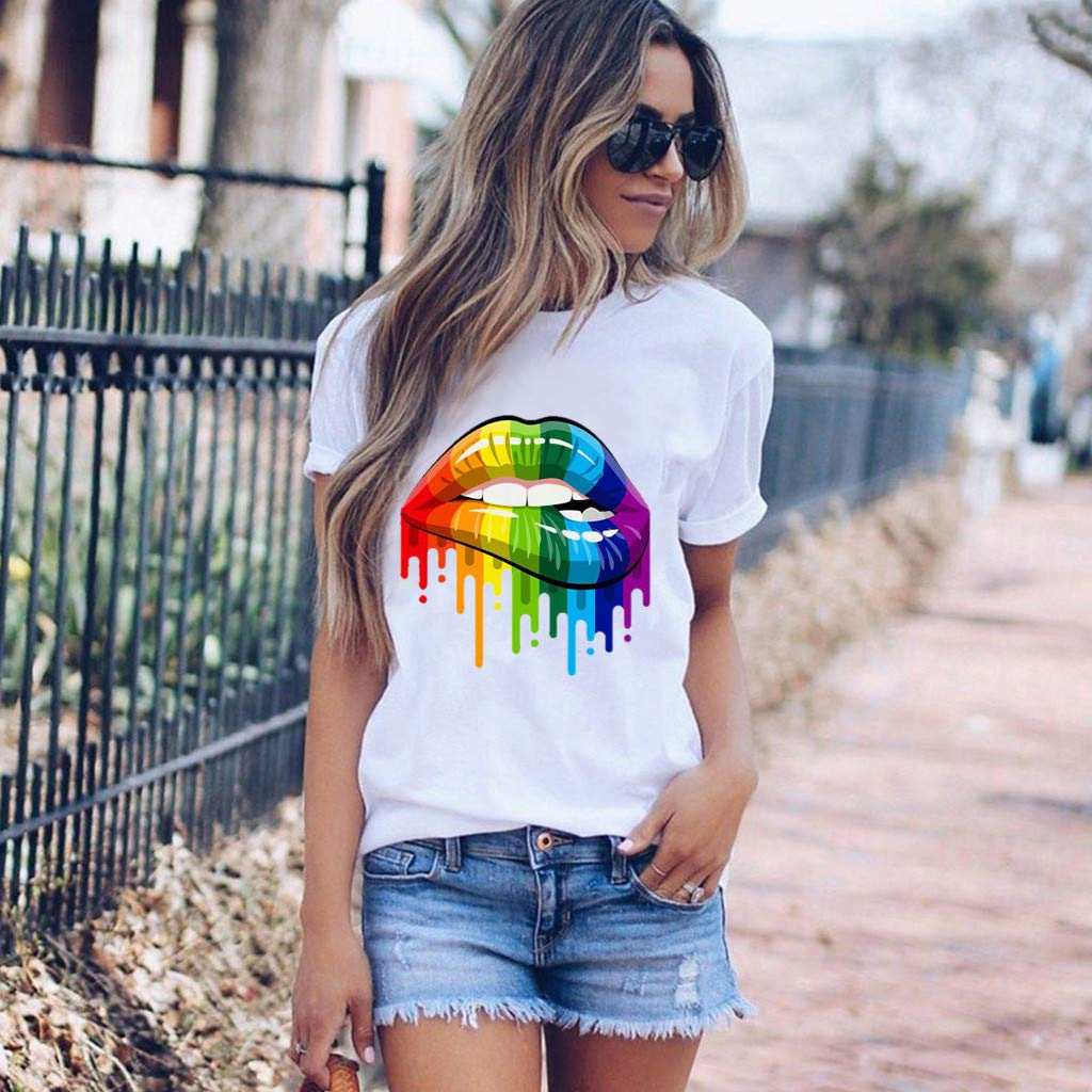 Camiseta Mujer Verano Moda Manga Corta Impresi/ón Blusa Camisa Cuello Redondo Basica Camiseta Suelto Tops Casual Fiesta T-Shirt Original tee vpass