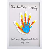Pearhead Clear Family Handprint Frame, Family Print Keepsake, Multicolor DIY Art