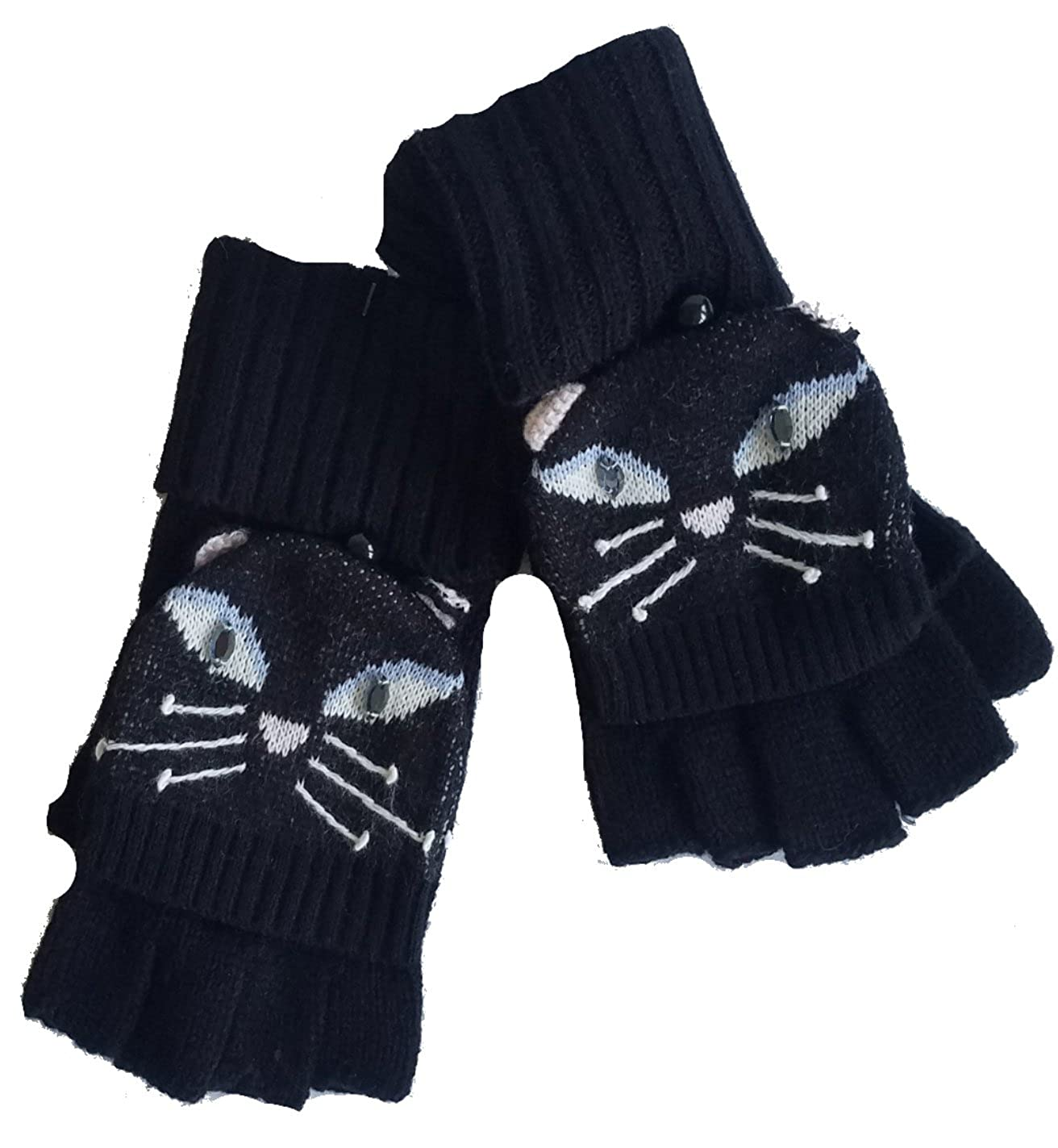 Kate Spade Cat Pop Top Gloves/Mittens, Black