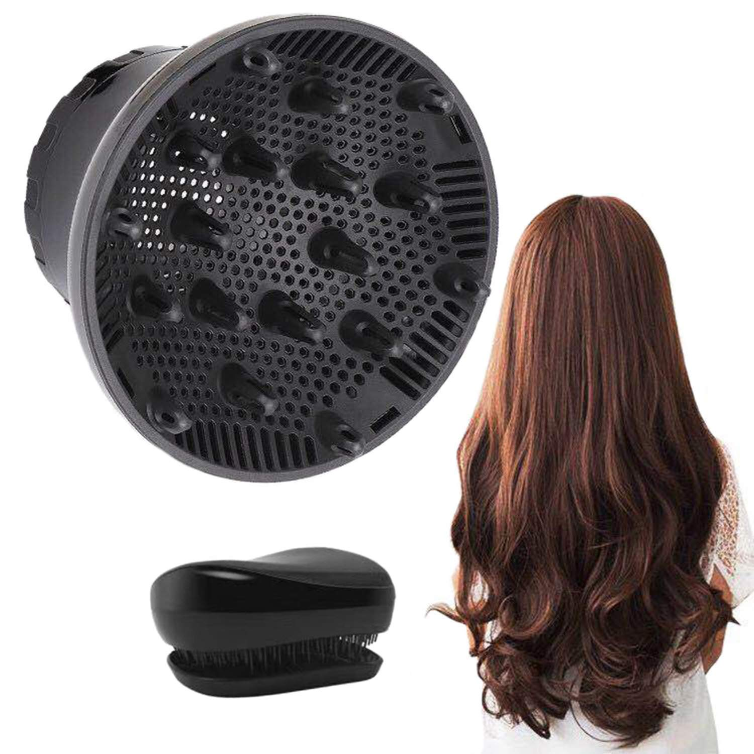 Hair Diffuser, Universal Hair Diffuser Attachment, Hair Dryer Diffuser Suitable for 1.4-inch to 2.6-inch Blow Dry, Professional Salon Tool for Fine Thick Curly Frizzy and Wavy Hair (Black) by SNAHIKE