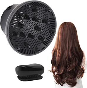 Hair Diffuser, Universal Hair Diffuser Attachment, Hair Dryer Diffuser Suitable for 1.4-inch to 2.6-inch Blow Dry, Professional Salon Tool for Fine Thick Curly Frizzy and Wavy Hair (Black)