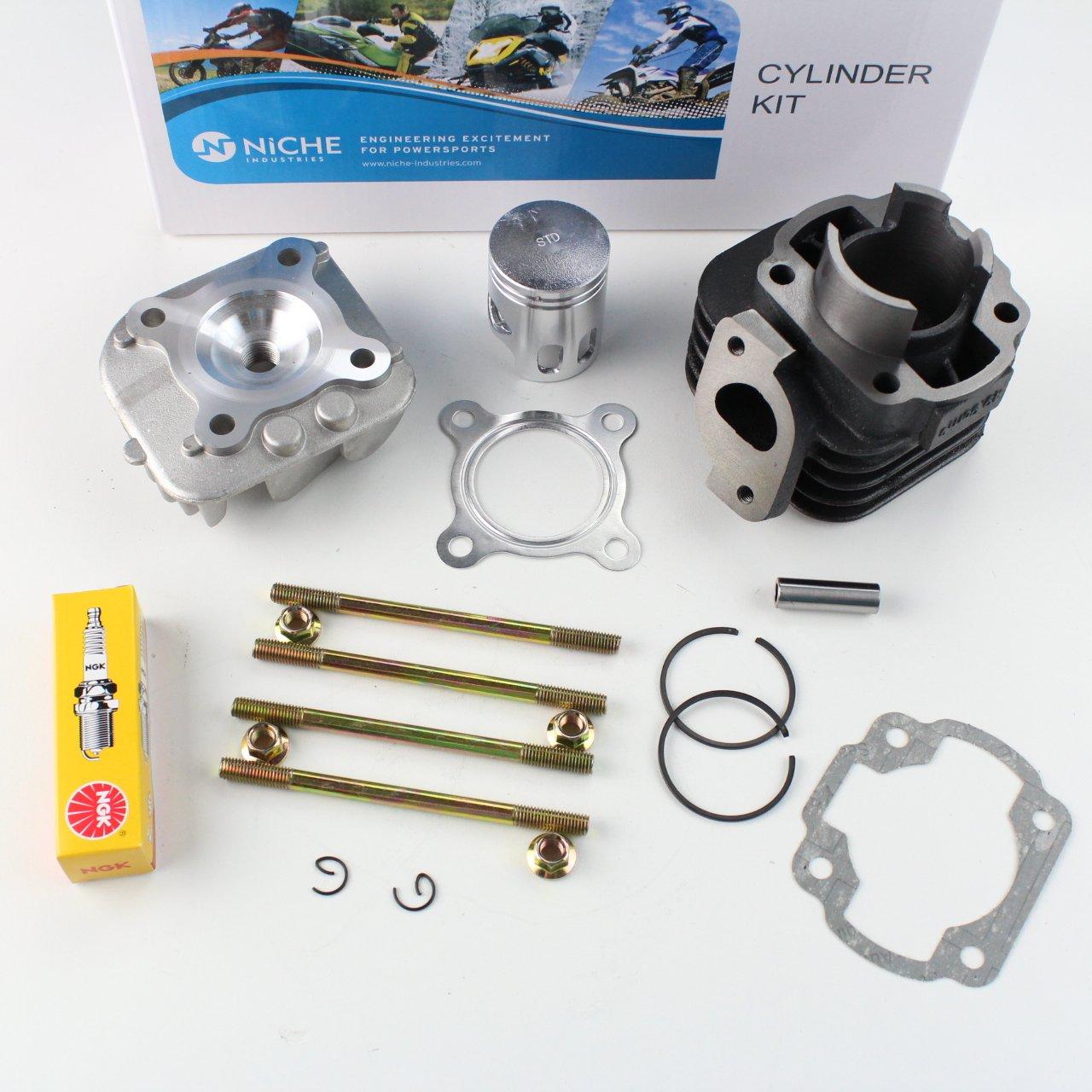 NICHE Cylinder Piston Gasket Cylinder Head Top End Kit for Polaris Scrambler 50 2001-2003