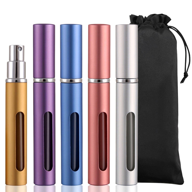 Sets of 5pcs 6ml Mini Protable Refillable Empty Perfume Atomizer Spray Bottle for Traveling Handbag,Gold,Silver,Blue,Purple,Pink