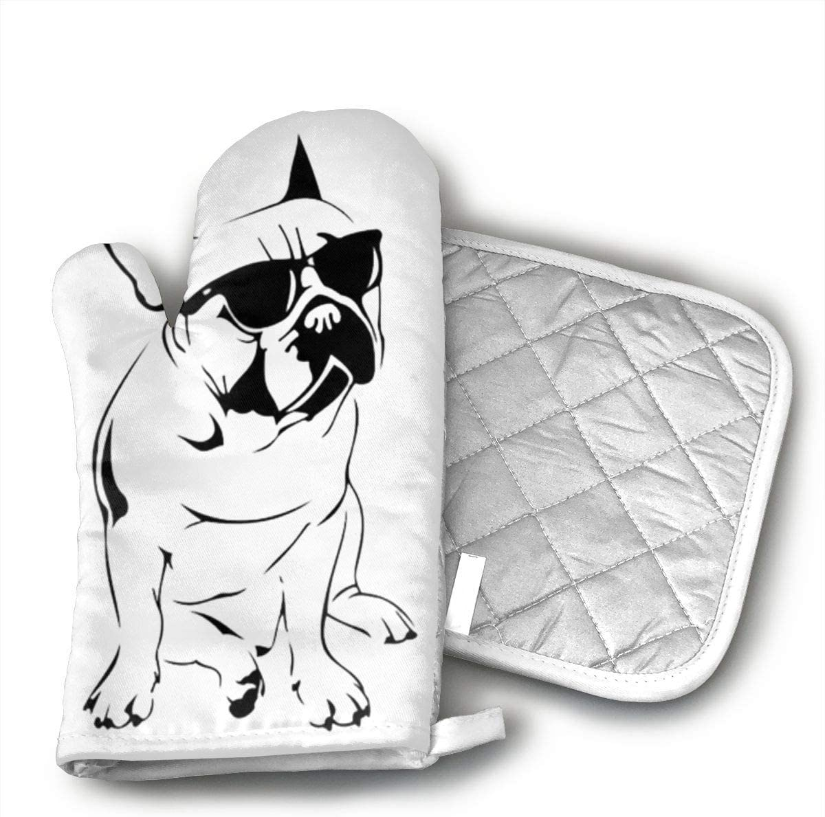 not Ash Frenchie French Bulldog Oven Mitts,Microwave Mitts,Kitchen Glove Heat Resistant,Baking,Barbecue Potholder