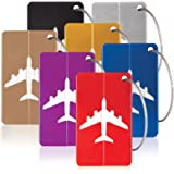 Savisto Aluminium Luggage Tags (7 Pack) | Metal Bag Tags with Personal ID Shield | Travel Labels for All Baggage Inc. Holiday Suitcases, Backpacks & Airport Bags - Multi-Coloured