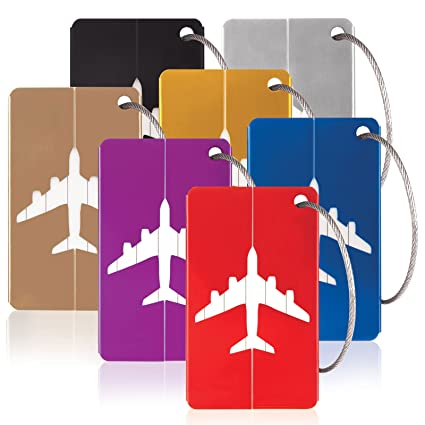 f4814c5008dd Savisto Aluminium Luggage Tags (7 Pack) | Metal Bag Tags with ...