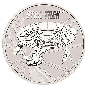 Star Trek 50 Jubiläum Raumschiff Enterprise 1 Silber Dollar