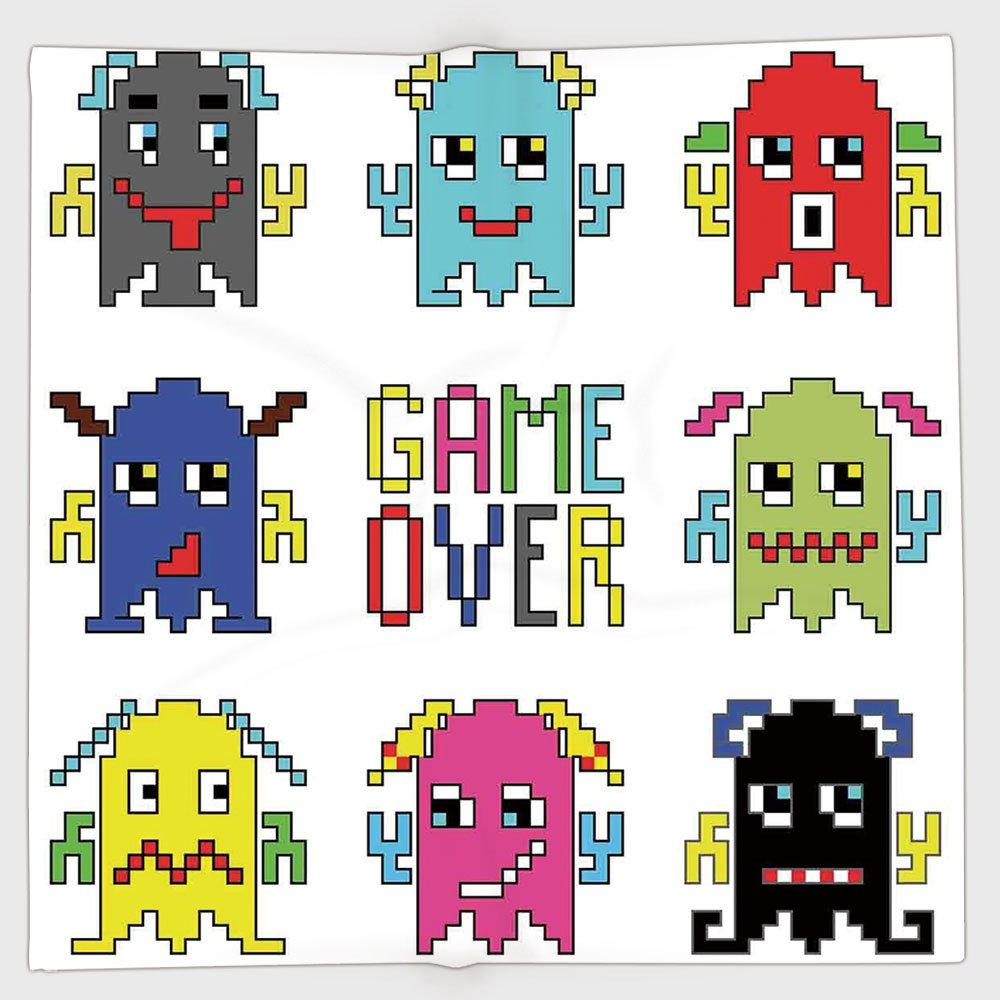 Cotton Microfiber Hand Towel,90s,Pixel Robot Emoticons with Game Over Sign Inspired by 90s Computer Games Fun Artprint,Yellow Red,for Kids, Teens, and Adults,One Side Printing