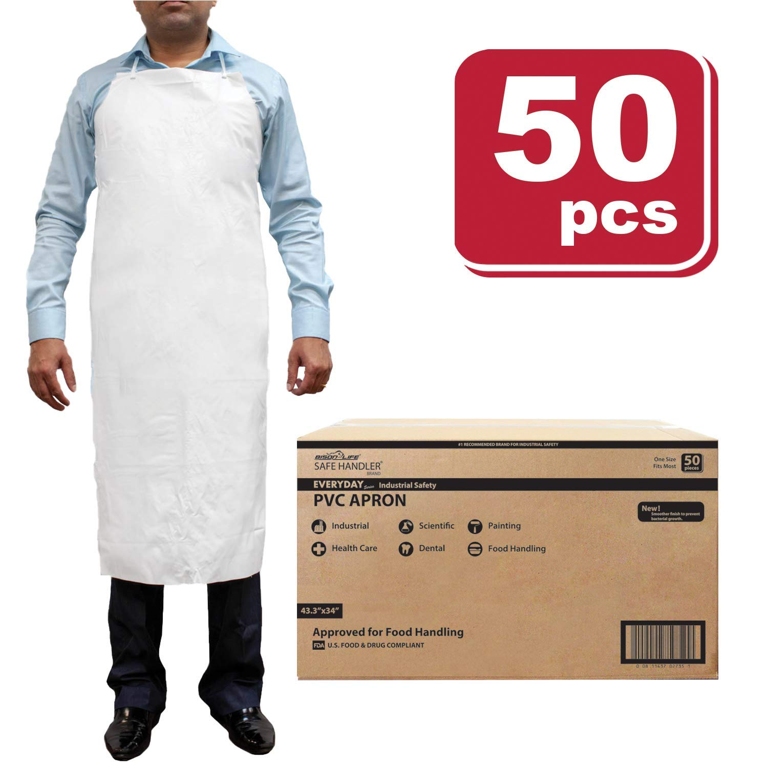SAFE HANDLER PVC Apron | Smooth finish to Prevent Bacterial Growth, Comfortable, Easily Adjustable, Waterproof Material, WHITE (Case of 50)