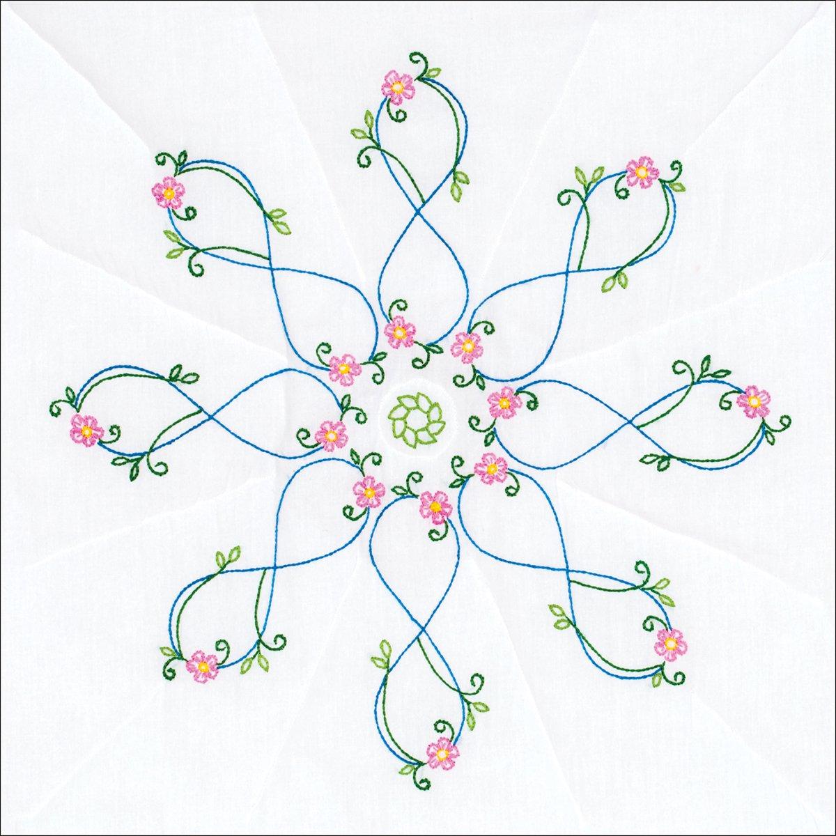 Stamped White Quilt Blocks 18X18 6//Pkg-Infinity Star