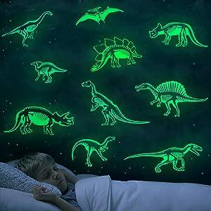 Marsway Glow in The Dark Dinosaurs Stickers Creative Luminous Wall Decor for Room Bedroom Birthday Christmas Gifts for Kids Girls Boys Dinosaur Skeleton