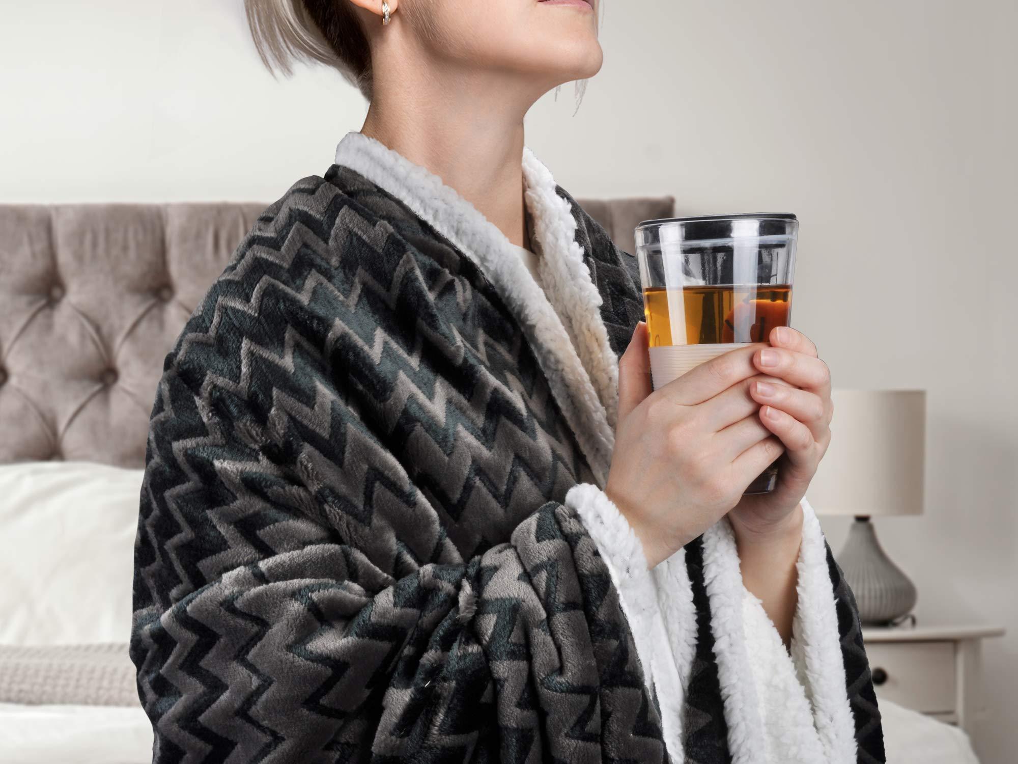 Plush Flannel Sherpa Throw Blanket Chevron 50\