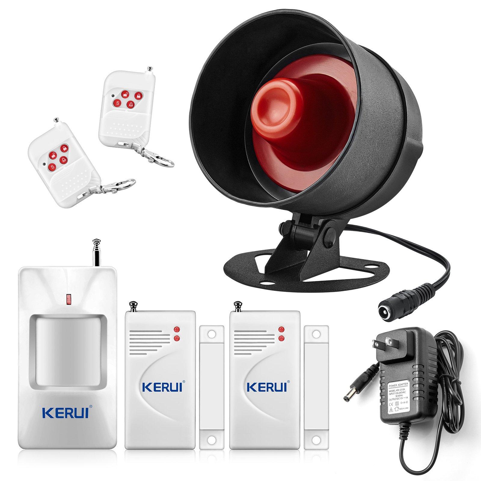 KERUI Home Security System Indoor Outdoor Weather-Proof Siren Window Door Sensors Motion Sensor Alarm with Remote Control more DIY, Wireless Home Hotel Garage Shop Burglar Door Alarm System