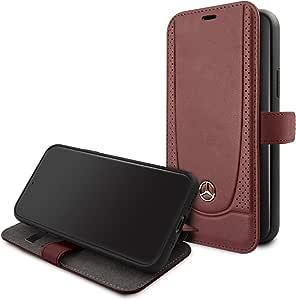 غطاء حماية بنمط كتاب من الجلد مخرم من مرسيدس بنز لهاتف ايفون 11 برو - احمر