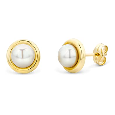8558b9373 Miore 9 kt (375) Yellow Gold Cultured Pearl Stud Earrings for Women, 7mm:  Amazon.co.uk: Jewellery