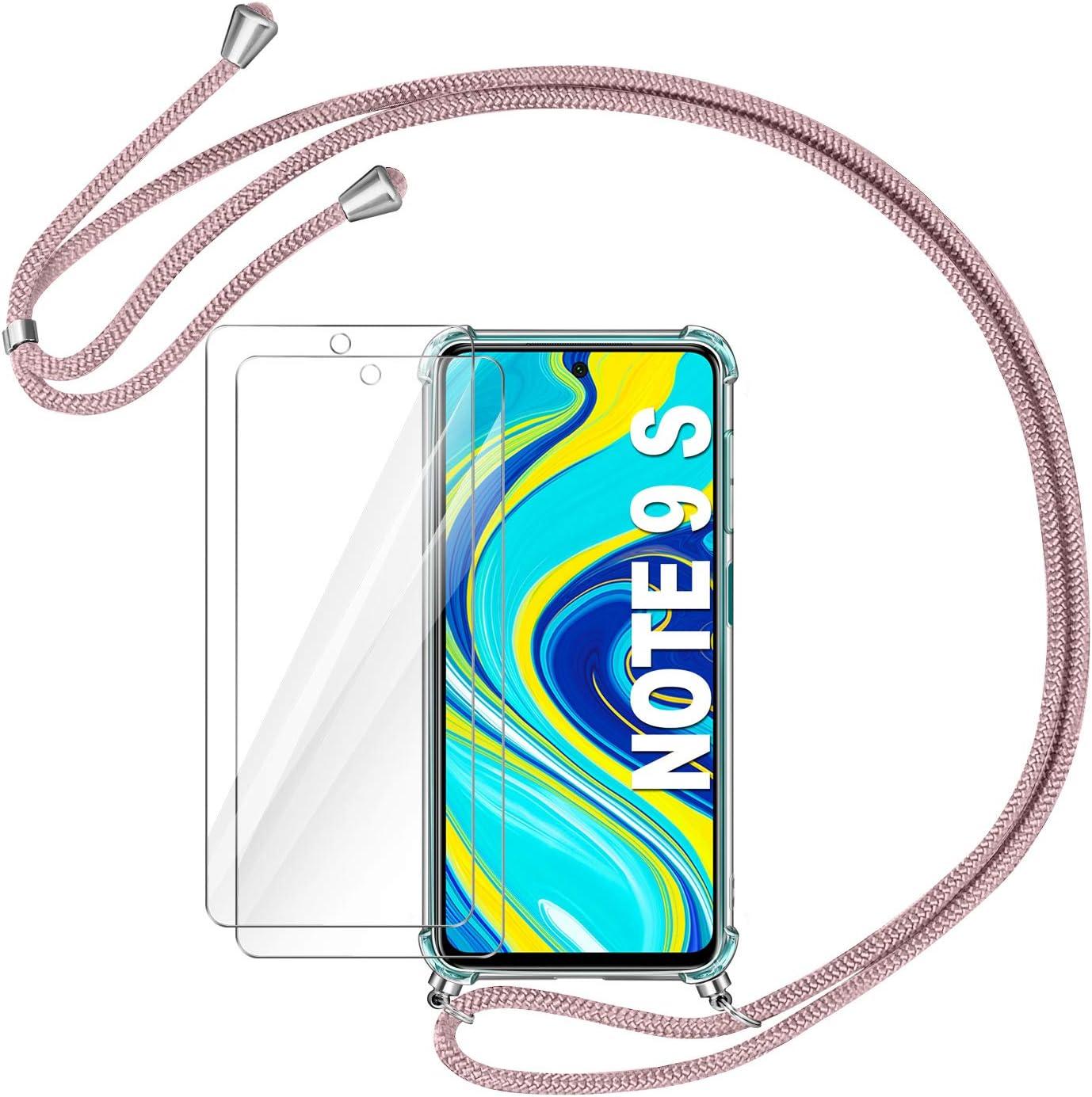 AROYI Funda con Cuerda para Xiaomi Redmi Note 9S / Note 9 Pro/Note 9 Pro MAX + 2 x Protector Pantalla, Carcasa Transparente TPU Silicona Case con Colgante Ajustable Collar Correa de Cordón, Oro Rosa