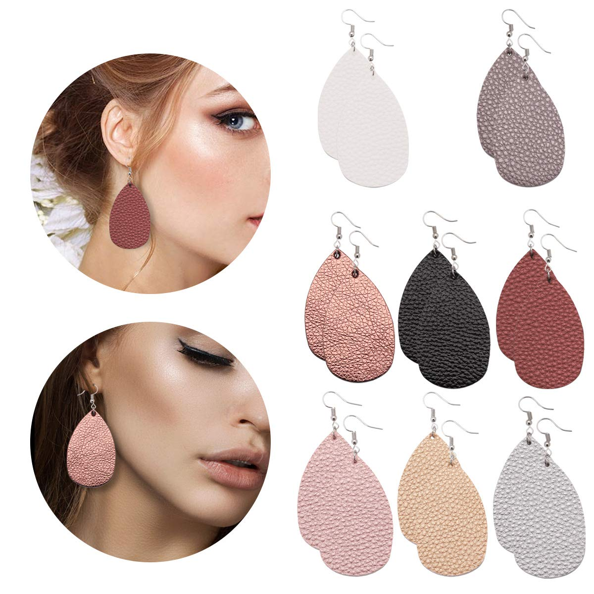 Leather Earrings Lightweight Faux Leather Leaf Earrings Teardrop Dangle Handmade for Women Girls 8 Pairs