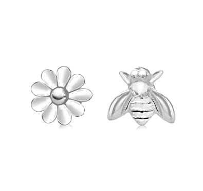 Tuscany Silver Sterling Silver 6.2 x 7.4 mm Bee and 7.8 mm Flower Stud Earrings gnayl