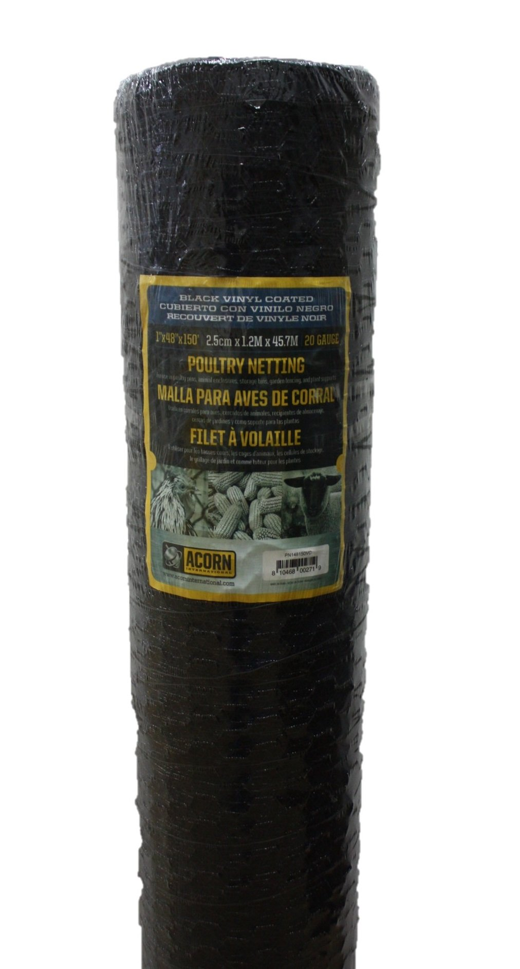 Acorn International PNVC148150 Vinyl Coated Poultry Netting, 1'' x 48'' x 150'
