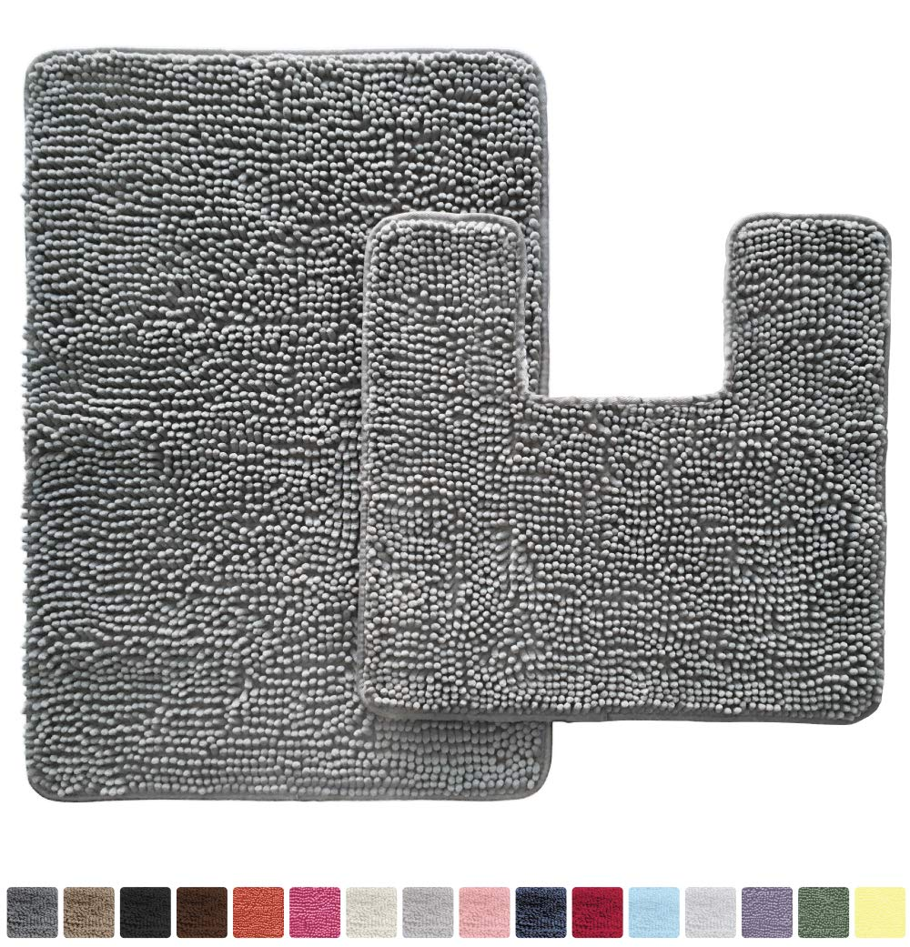 GORILLA GRIP Original Shaggy Chenille 2 Piece Bath Rug Set, Includes Square U-Shape Contoured Toilet Mat & 30x20 Carpet Rug, Machine Wash/Dry Mats, Soft, Plush Rugs for Tub Shower & Bath Room, Gray by Gorilla Grip