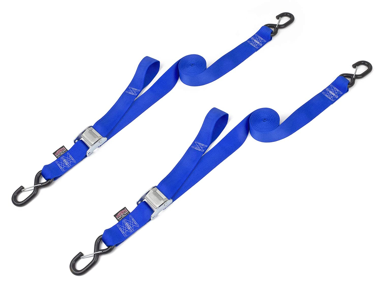 PowerTye 2 x 12ft Cam Buckle Tie-Down Made in USA with Heavy-Duty Latch Hooks Black pair