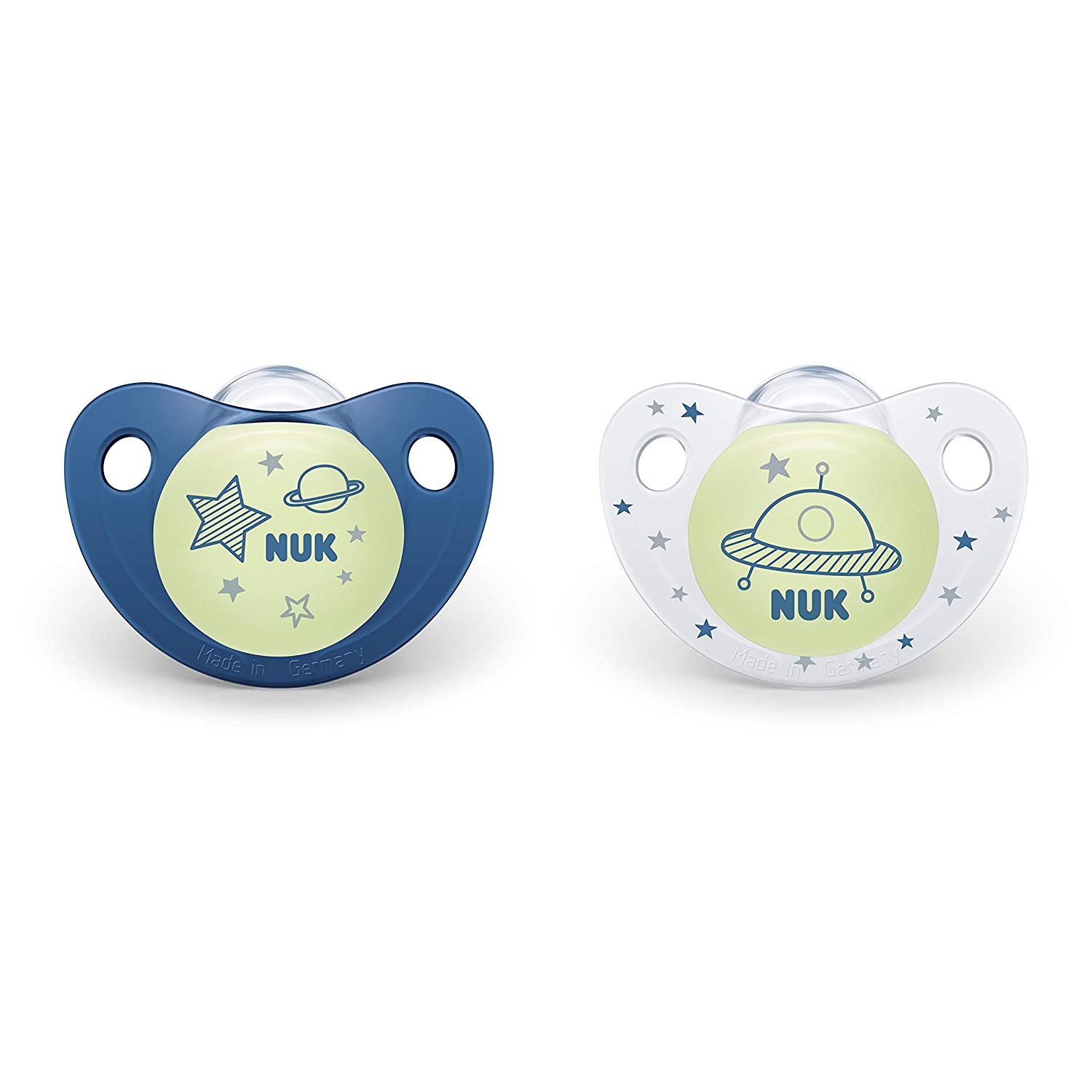 NUK Cute-as-a-Button Glow-in-The-Dark Orthodontic Pacifiers, 6-18 Months, 2 Pack, Baby Boys