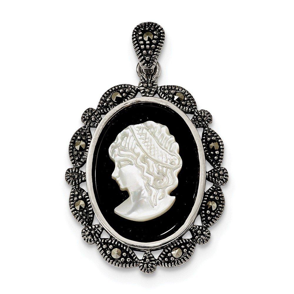 21,8mm schwarz Achat und Sterling Silber Antik Markasit Perlmutt weiß Cameo Anhänger JewelryWeb QTP332480NC