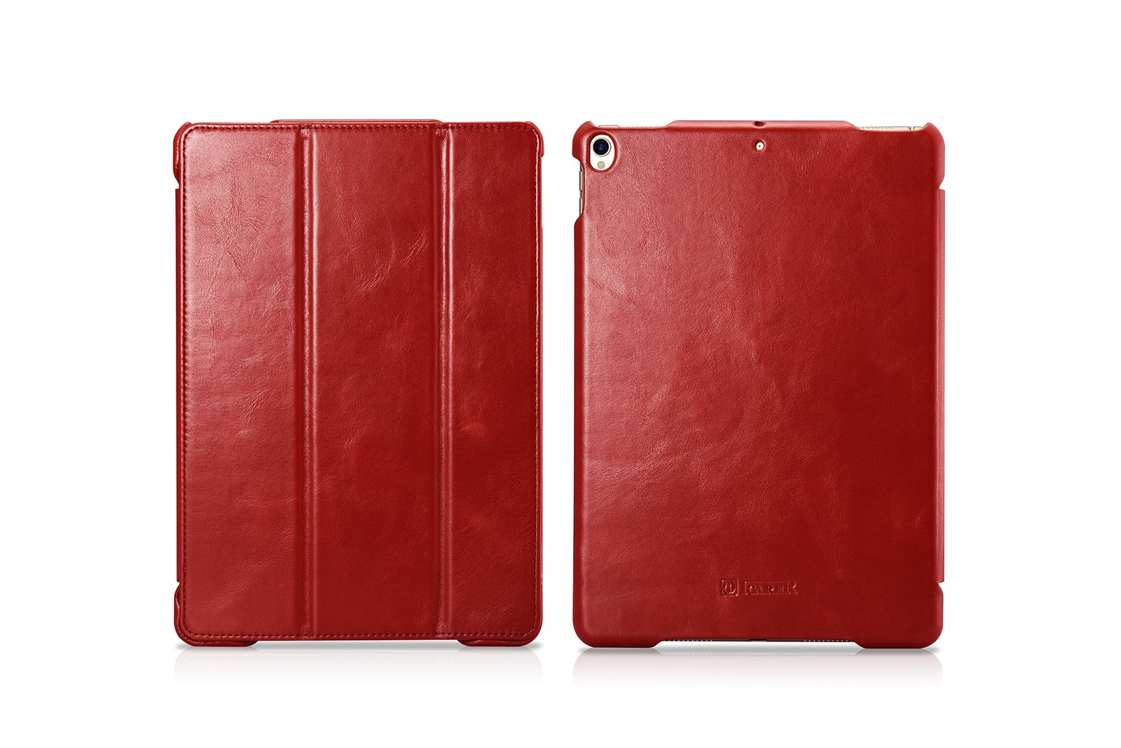 Pad Pro Leather Case, Icarercase Vintage Genuine Leather Side Open Flip Folio Style Smart Cover in Ultra Slim Design with Stand & Auto Wake/Sleep Functions for 10.5-inch iPad Pro 2017 (Red)