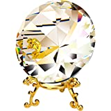 Lulonpon Crystal Diamond Paperweight Crystal Jewels Wedding Decoration with Metal Stand