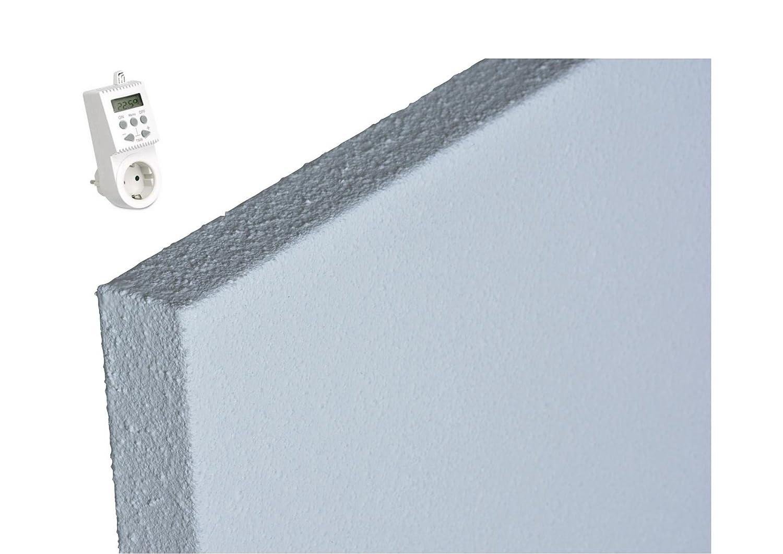 Infrarotheizung mit Thermostat ECOSUN E300 IFTH1539 Infrarot Heizung 300 Watt Thermocrystal Beschichtung f/ür bessere Abstrahlung Schutzklasse IP44 inkl Halter f/ür Wand und Decke und Thermostat Steckdose