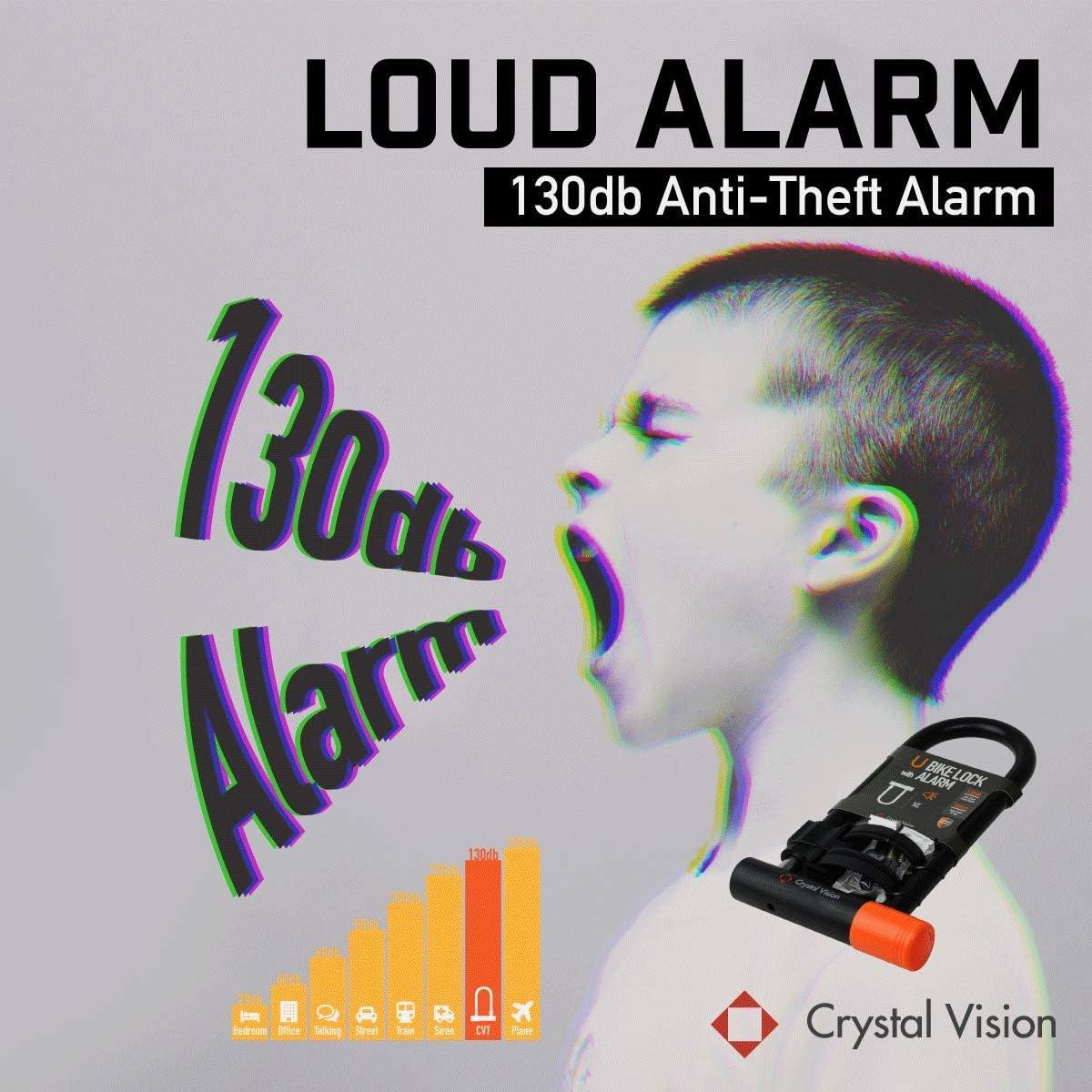 Crystal Vision SHBLA Weather Proof Anti Theft Alarm Bike Lock Loud 130db